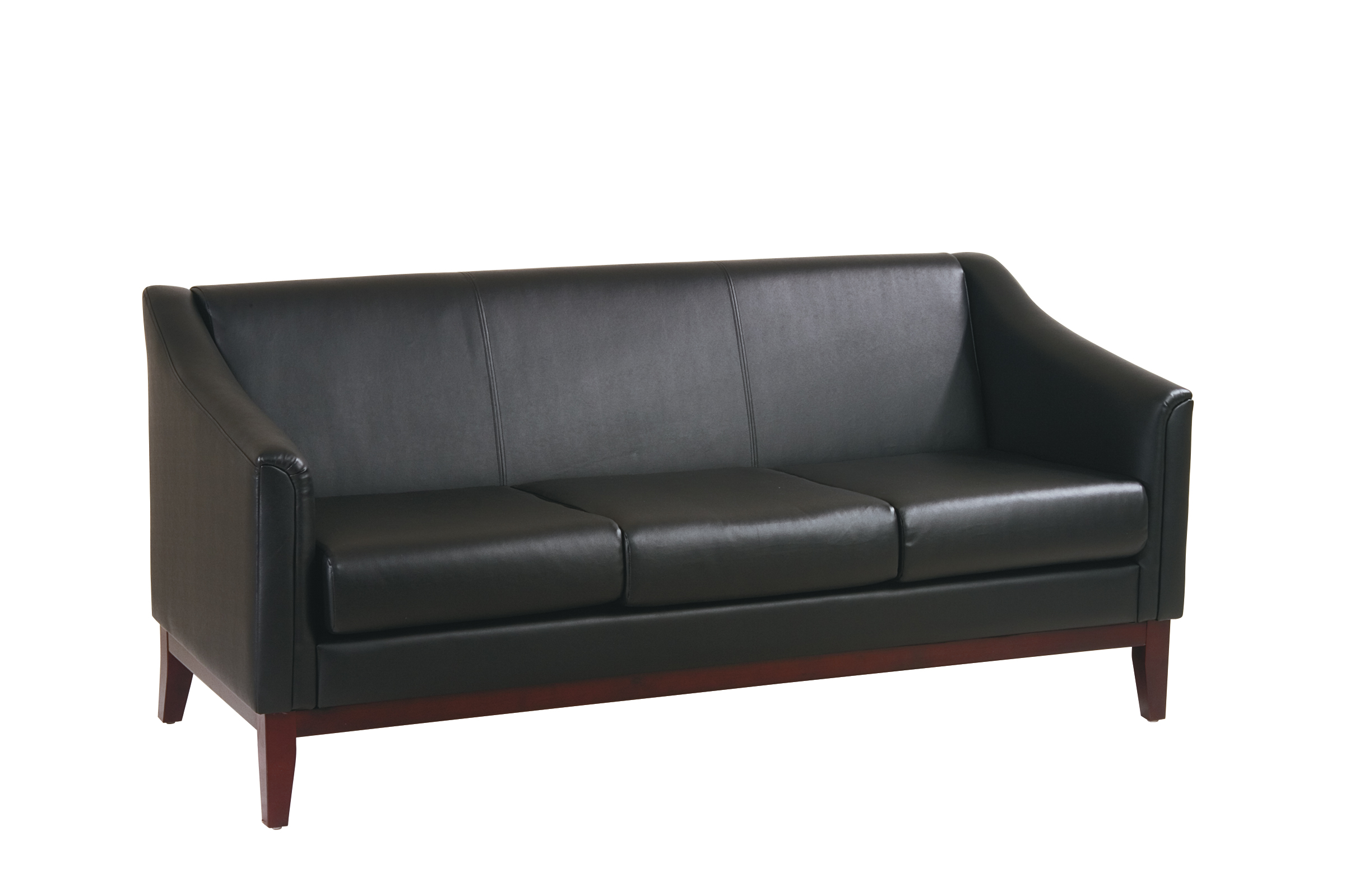 Work Smart™ Wood Reception Seating Black Vinyl Sofa with